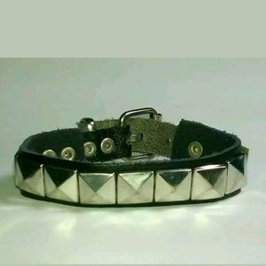 METAL LARGE SQUARES GENUINE BLK LEATHER BUCKLE C